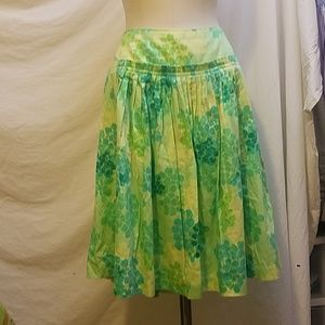 ANTHROPOLOGIE ODILLE Green Cotton Pleated Skirt
